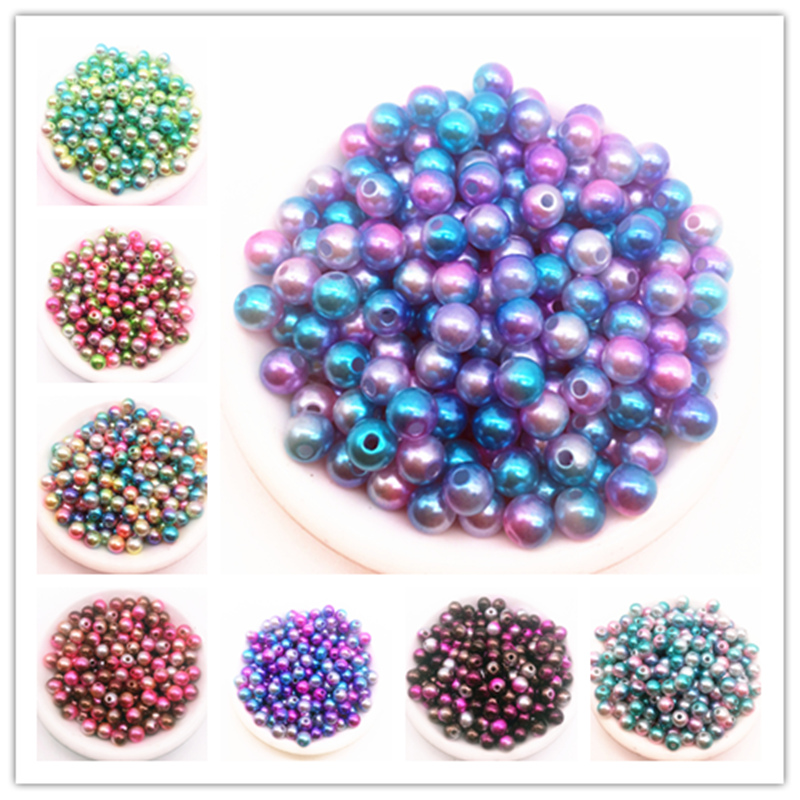Wholesale Dia 4/6/8/10mm 30-200pcs Acrylic Round Pearl beads Loose Pearl Beads for Necklace Bracelet DIY Jewelry Making(China)