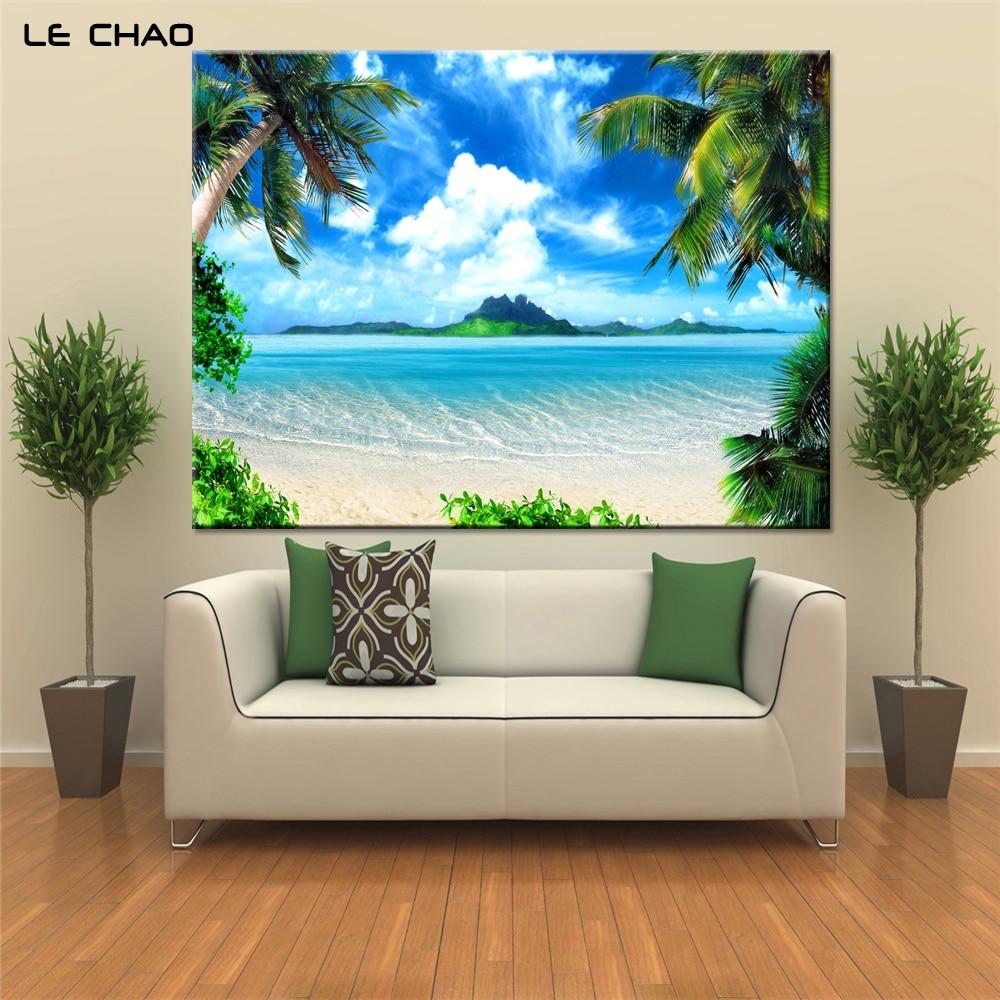 Arte da parede Pintura em Tela Praia Azul paisagem Retratos da parede - Decoração de casa - Foto 4