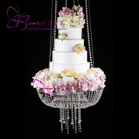 Wedding Faux Acrylic Crystal Chandelier Style Drape Suspended Cake Swing stand (Crystal, DIA24 OR 18)
