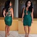 Sexy Emerald Green Short Cocktail Dress Lace Arabic Women Vestidos de renda Mini Birthday Party Prom Dresses Plus Size E5620
