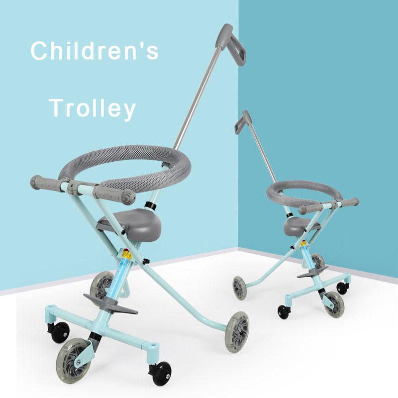 Infant Shining Baby Walker Children Tricycle Kids Ride on Toy Lightweight Car Folding Scooter Three-wheeled Doll Trolley new 1pc kids scooter swing car wiggle gyro plasma ride on toy twist turn baby walker best gift to children wholesale
