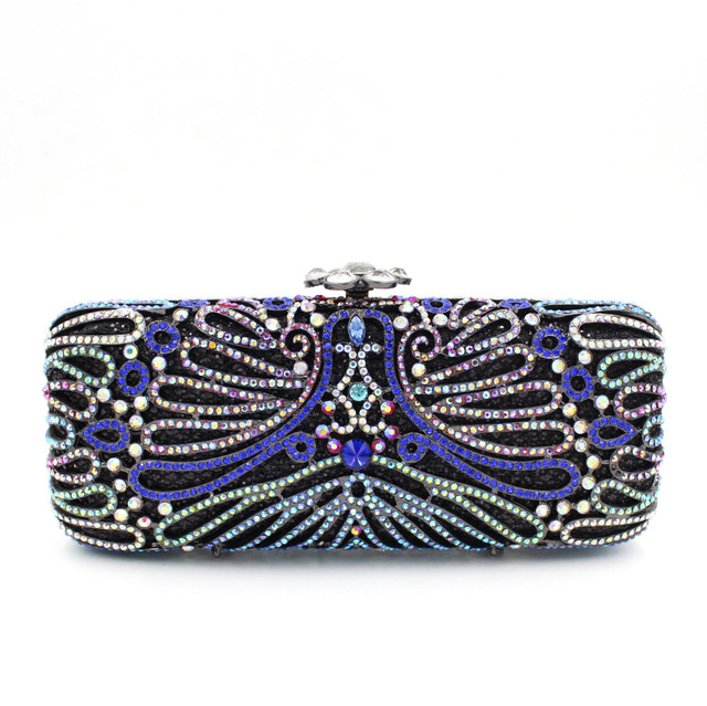 Whole Navy Blue Clutch Bag With Silver Chain Small Black Evening Bags For Women Long Square