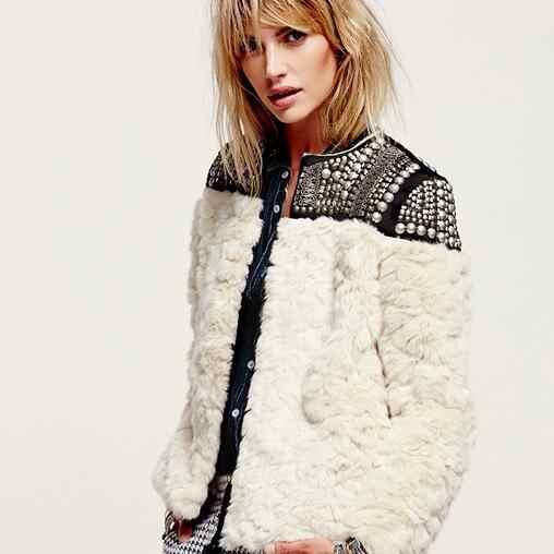 2019 женские куртки и пальто из искусственного меха в стиле панк с отделкой бисером и пайетками, пэтчворк пальто из искусственного меха кролика manteau fourrure femme DF592