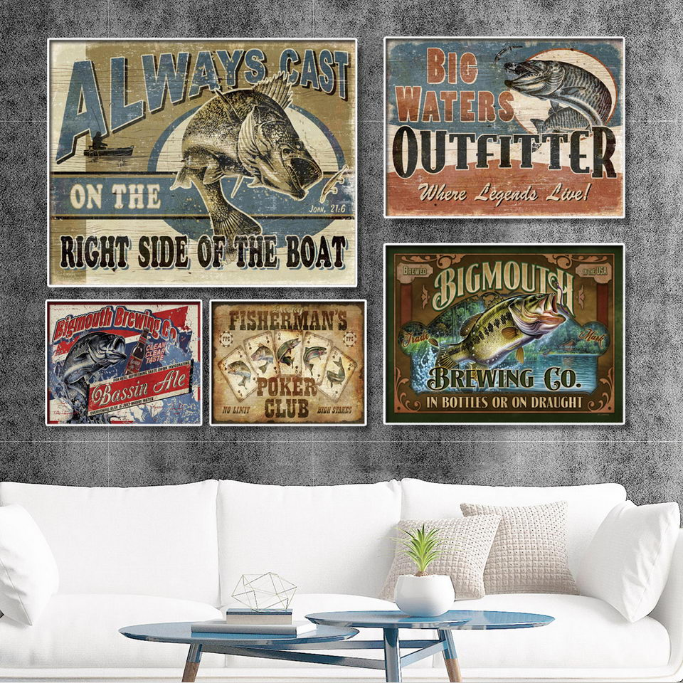 Retro alphabet animal fishing Canvas Wall Art