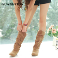 New Style Winter Warm cheap shoes high Lace snow boots artificial scrub leather casual Bandage female mid-calf shoes ZY175