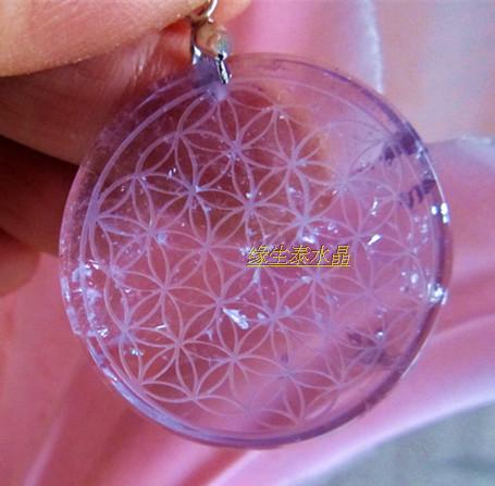 natural stone quartz Purple crystal crystal pendant pendulum flower of life pendants chakra suspension healing 40g natural fluorite quartz crystal double terminated wand healing for sale
