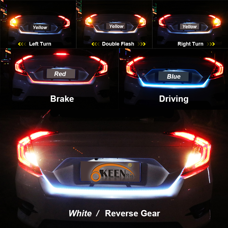 OKEEN yellow/red/blue/white 150cm Rear LED Trunk light strip dynamic turn signal tailgate luggage flexible led warnning light okeen 12v 1 2m red blue led strip lighting car tailgate strip rear trunk tail light dynamic streamer brake turn signal reverse