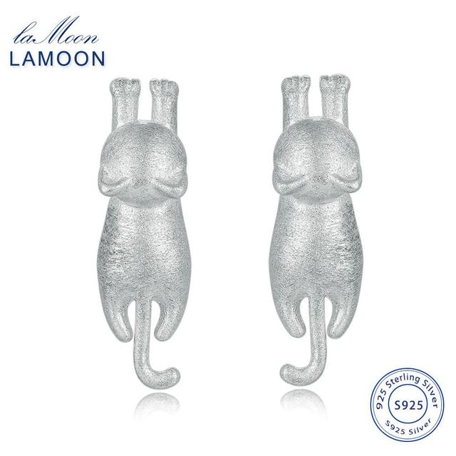 LAMOON 2017 New WireDrawing Little Cat 100% 925-Sterling-Sliver S925 Fine Jewell