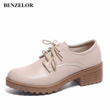 b070d1aeb89 BENZELOR 2018 Classic Oxford Casual Shoes Woman Pumps Women Heels Low Dress  Party Office Korean Ladies