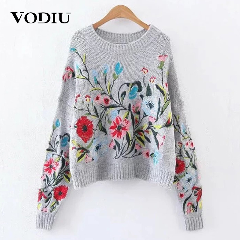 Vodiu Sweater Female Winter Women Long Sleeve  Winter Woman Sweater Pullover Flower Embroidery Fashion Casual 2019 New Hot Sale