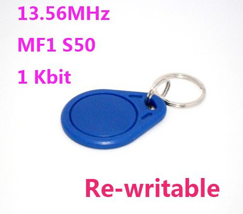 bilder für 100 teile/los 13,56 Mhz NFC Schlüsselanhänger S50 ISO14443A wiederbeschreibbare Rfid Tag Kostenloser versand