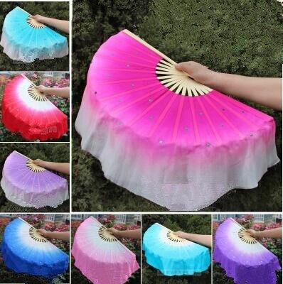 Chinese Folk Art Rose Silk Veil Bamboo Short Dancing Fan for Belly Dance Dancer