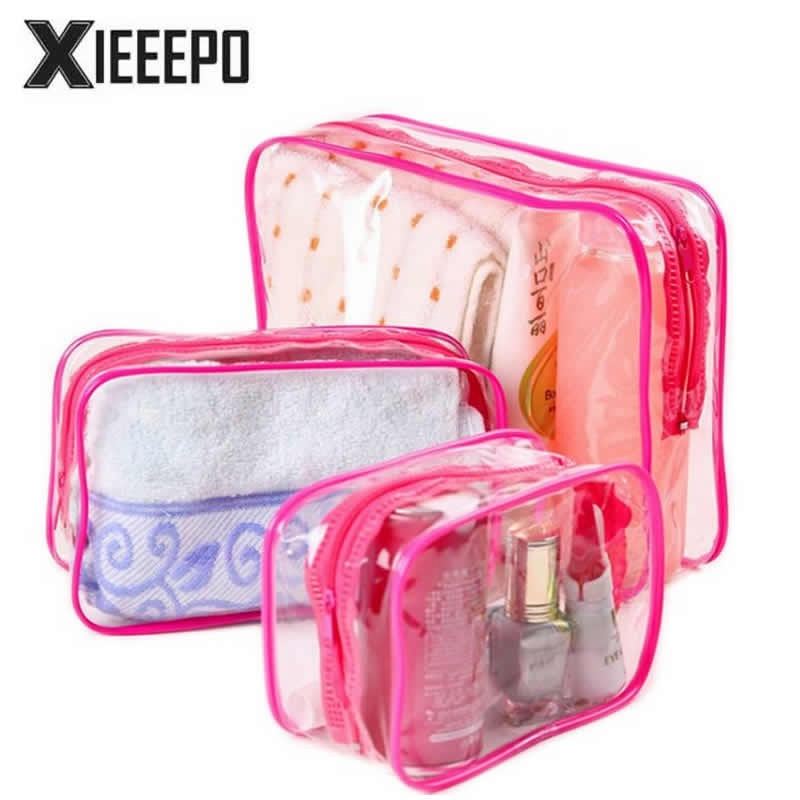 3 Set Women Transparent Cosmetic Bag PVC Leather Zipper Travel Make Up Bag Makeup Case Organizer Storage Pouch Toiletry Bag