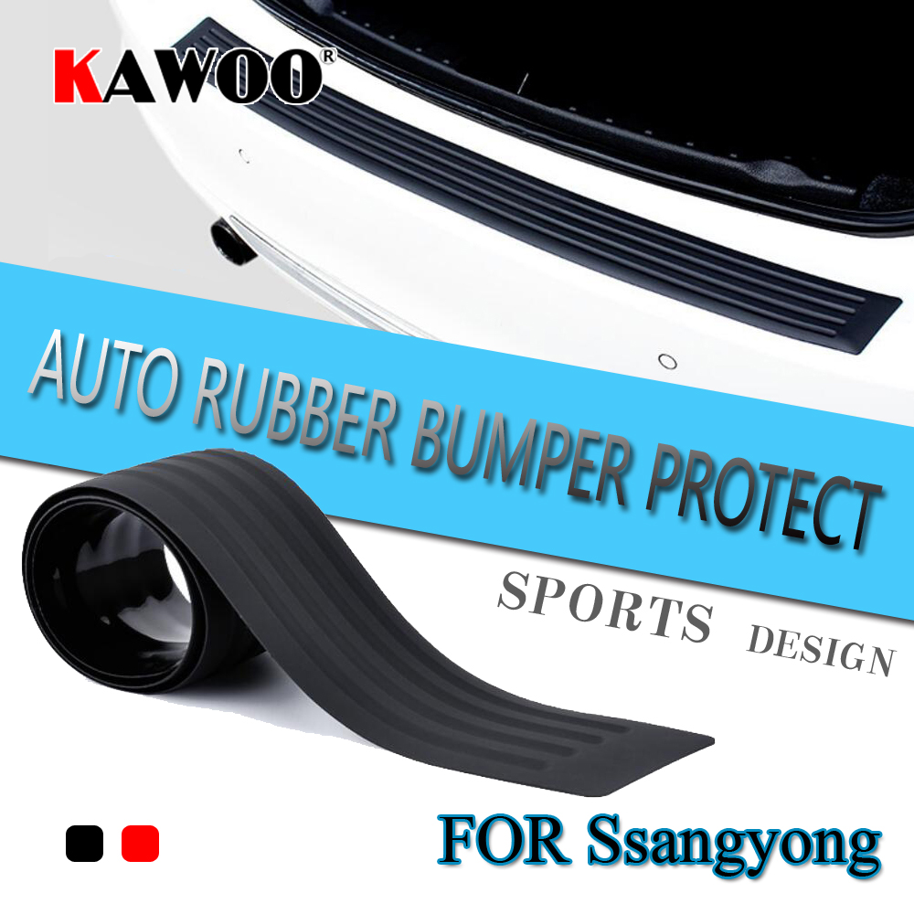 KAWOO For Ssangyong Rexton Kyron Rodius Actyon Chairman Rubber Rear Guard Bumper Protect Trim Cover Sill Mat Pad Car Styling ssangyong rexton с пробегом