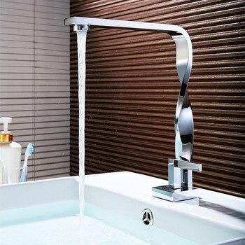 MTTUZK chrome Twist bathroom Faucet basin crane waterfall water faucet basin mixer Taps deck Mounted Sink Faucet brass torneira 5