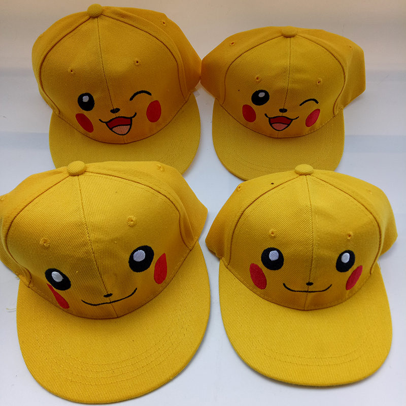 Cartoon Anime Pokemon Pikachu Lovely Parent-Child Baseball Caps Blink Eye Casual Hats Adjustable Cap For Adult Children