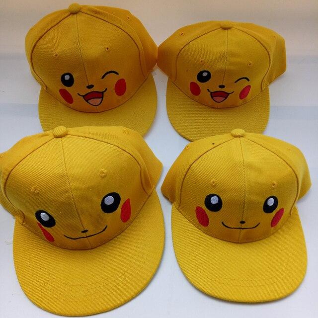 Dos desenhos animados Anime Pokemon Pikachu Bonito Pai-Filho Blink Eye Cap Casual Chapéus Ajustáveis Bonés de Beisebol Para Adulto Crianças