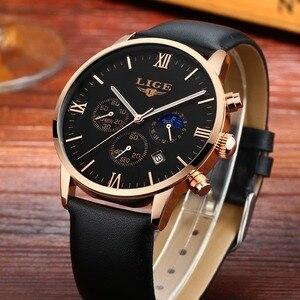 Image 2 - 2017 LIGE hommes montres décontracté Sport montre à Quartz hommes Chronograp horloge homme en cuir affaires montre bracelet Relogio Masculino