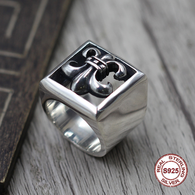 S925 pure silver mens ring individuality Restoring ancient ways punk style Hollow boat anchor popular classic Gift your loverS925 pure silver mens ring individuality Restoring ancient ways punk style Hollow boat anchor popular classic Gift your lover