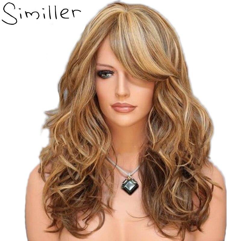 Similares 60 cm culminante marrón Rubio Color mezclado rizado largo sintético de fibra de alta temperatura peluca Cosplay para Mujeres Afro