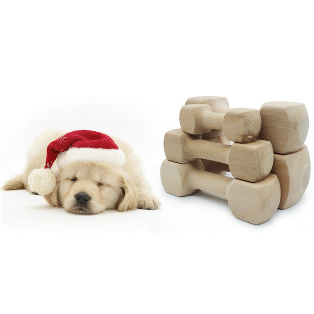 5 pièces Hateli bois massif os haltère chien jouet Pet morsure caoutchouc molaire os morsure résistant jouet - 6