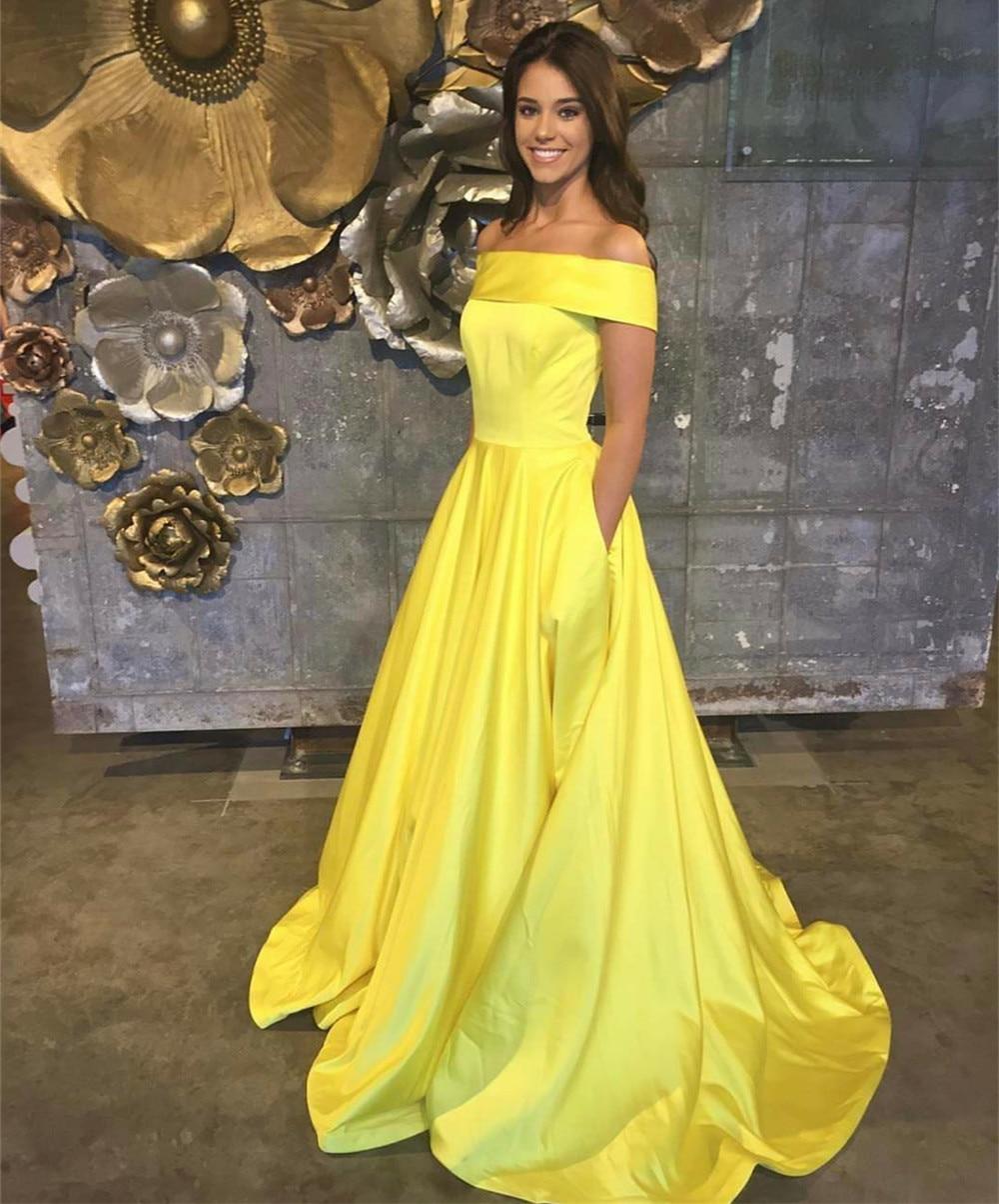 2019 New Yellow Satin Long Maid Of Honor Dress Boat Neck