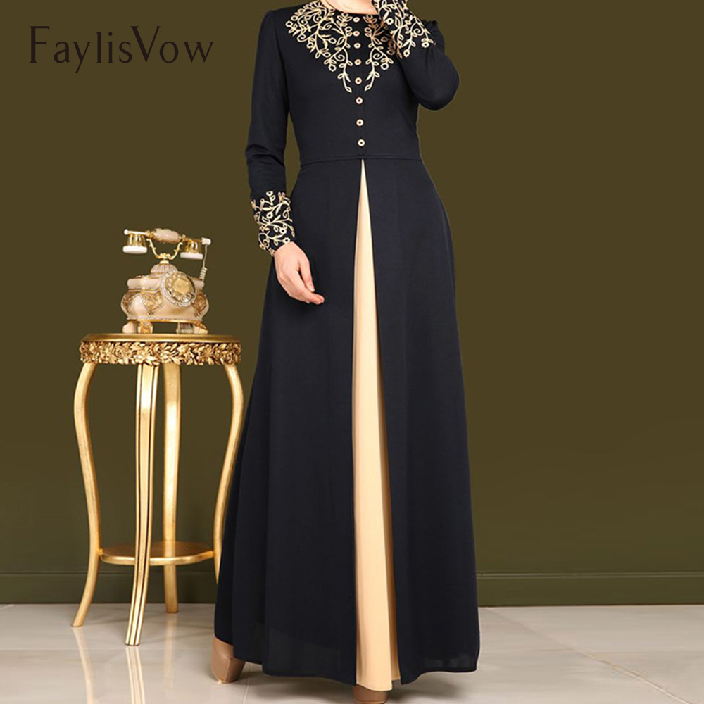 Muslim Abaya Dress Gold Stamping Print Dubai Abayas For Women Long Sleeve Kaftan Maxi Dresses Button Solid Blue Elegant Clothes Top