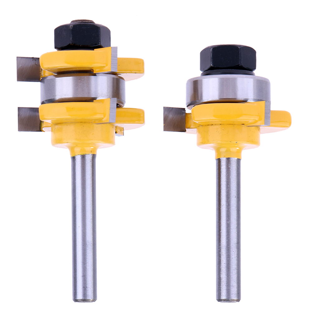 2pcs Woodworking Tongue & Groove Router Bit Set 3/4 Stock 1/4 Shank 3 Teeth T Type Tenon Cutter Hard Alloy Woodworking Tools 2pcs set woodworking tools tongue