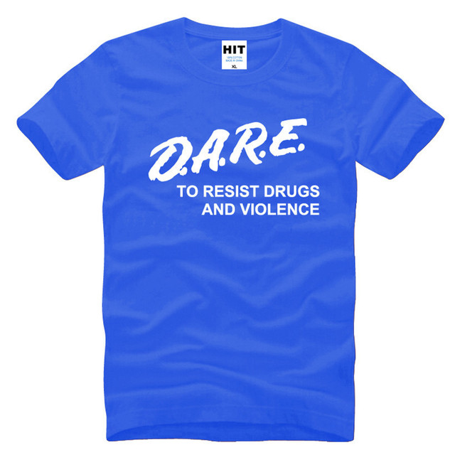DARE To Resist Drugs And Violence Letter Printed Men's T-Shirt T Shirt Men 2016 New Short Sleeve O Neck Cotton Casual Top Tee