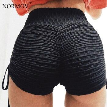 NORMOV negro sólido de alta cintura de las mujeres de verano de encaje Up Push Up Pantalones cortos Pantalones femeninos vendajes Casual Pantalones cortos caseros 2 colores