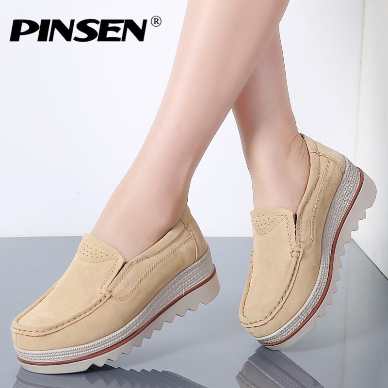 PINSEN 2019 Autumn Sneakers Women Flats Shoes Platform   Leather     Suede   Casual Shoes Woman Slip-on Flats Heels Creepers Moccasins