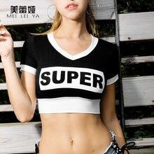 9846f7577e Women Summer Beach Tank Tops Cotton Breathable Super Letter Printted Short  Mini Crop Top Midriff Shirt Hiphop Dance Shirt Blusa