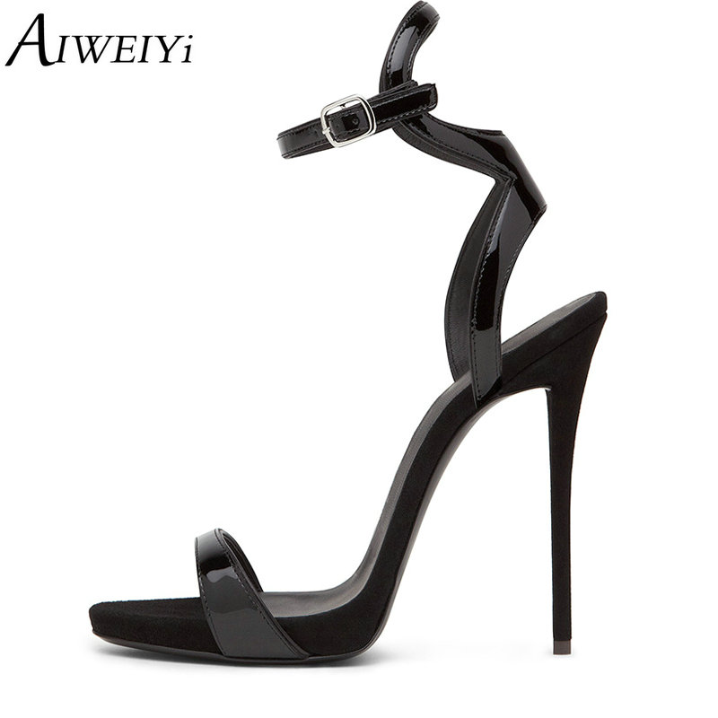 AIWEIYi Black High Heel Sandals Women Shoes Patent Leather Ankle Strappy Sandals Summer Open Toe Stiletto High Heel Sandal Shoes red patent leather strappy sandals cut out ankle strap buckle high heel shoes peep toe cage shoes women summer dress shoes