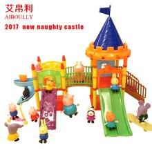 Aiboully jouets Série de parc D'attractions Jouets PVC Figurines Famille Membe porc Jouet Bébé Enfant Cadeau D'anniversaire