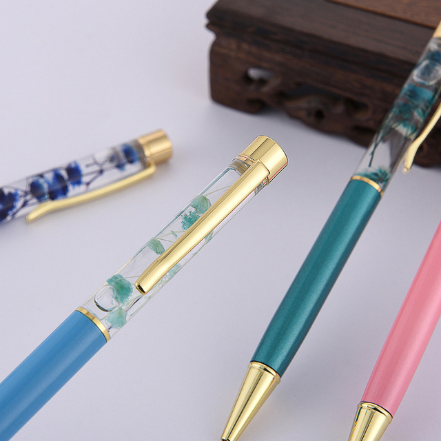 1pc Luxury Flower Metal Ballpoint Pens 1mm Business High Quality Ball Pens For Kids Girls Gift School Supplies Office Stationery 3