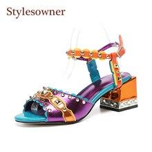 Stylesowner 2019 Summer Sandal Shoe 5cm Chunky Heel Color Match Open Toe Ankle Strap Sandalias Rivets Studded Retro Fashion