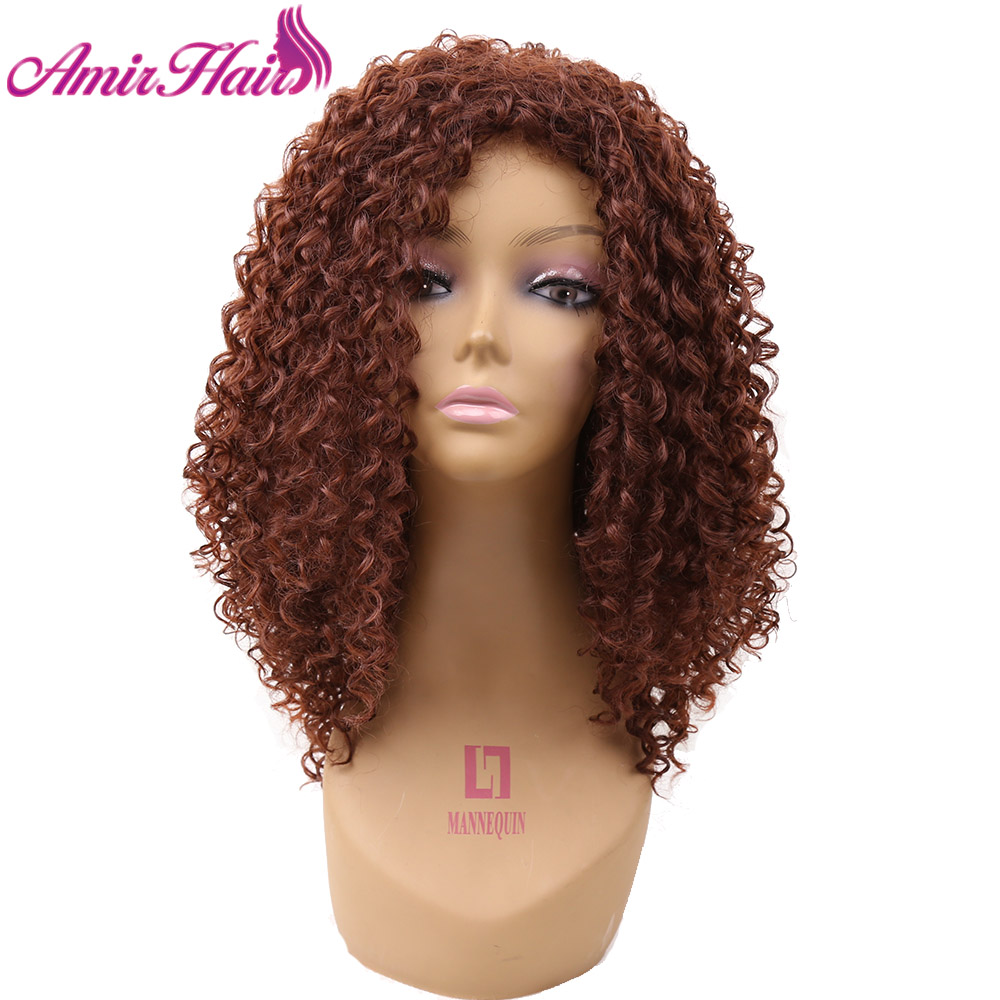 Amir Medium Length Afro Kinky Curly Synthetic Full Wig Heat Resistant Fiber Hair Brown Wigs For