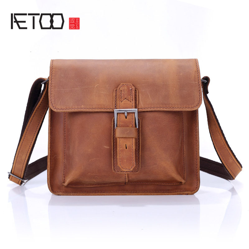 AETOO MCrazy horse leather small shoulder bag male bag leather Messenger bag Japan and South Korea version of small satchel men'