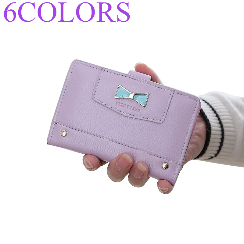 Sansarya 6 Colors 20 Card Slots Cute Cowknot Rivet Decorate PU Leather Hasp Ladies Short Purse Woman Wallet Credit Card Holder