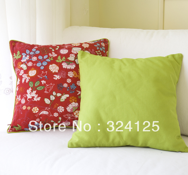 5pcs 55*55cm Free Shipping High quality  leaf and flower cotton thickening red Jacquard cushion cover pillow cases