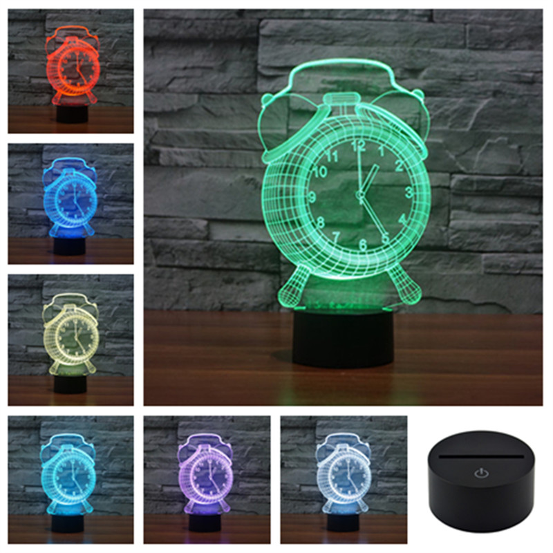 Alarm Clock Acrylic 3D Illusion Touch Night Table Colored Lights Lamp Child Bedroom USB LED Desk Lamps Novelty Gift Lighting