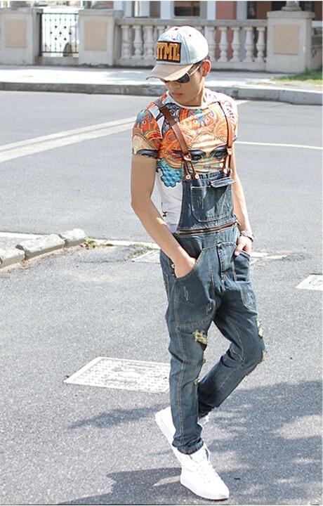 Men's denim bib pants male loose plus size casual jeans straight one piece long trousers suspenders overalls jumpsuit plus size  цены онлайн
