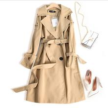 khaki Trench Coat Casual women's long Outerwear loose clothes for lady with belt spring autumn fashion high quality black beige khaki trench coat with self tie belt
