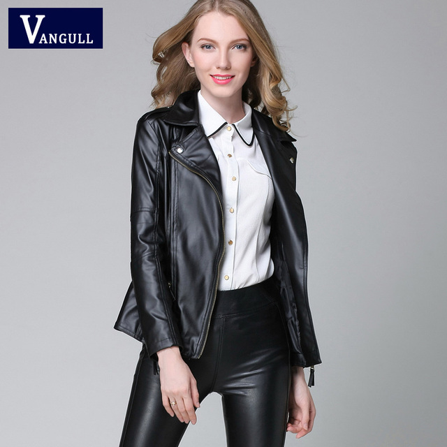fec2ba2073 Elegant Spring Autumn Leather Jacket 2018 New Women's Short Black RED PU  Leather Coat Ladies Slim