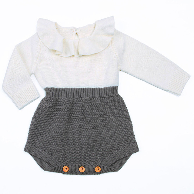 Newborn Baby Girl Clothing Rompers Wool Knitting Tops Long Sleeve Romper Warm Outfits Clothes Baby Girls 4