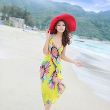 Womens Bohemian Spaghetti Strap Sexy V-Neck Backless Bikini Cover Up  Colored Sunflower Print Wrapped Beach Dress Bathing sunflower print strap dress