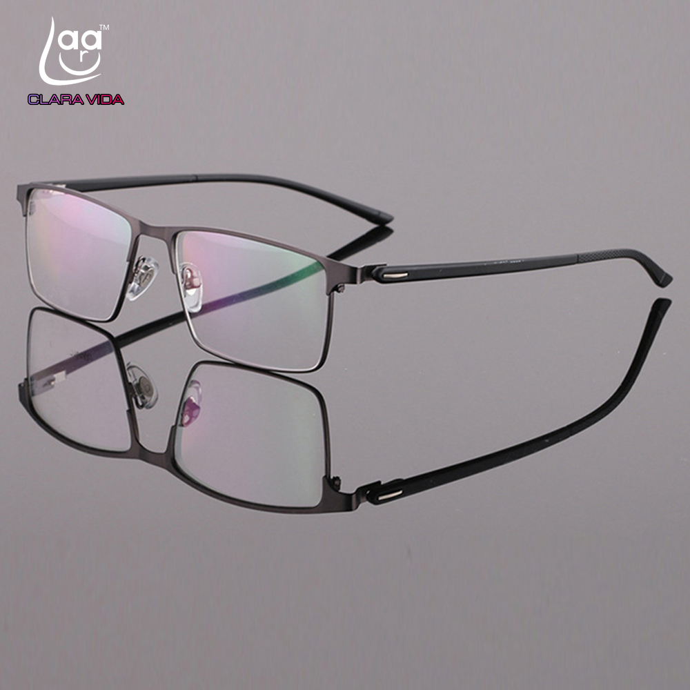 Personalizado feito prescrição óculos ópticos photochromic clássico grande liga de titânio completo-aro quadro miopia leitura de visão curta
