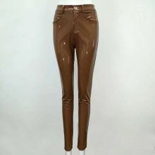celurvei High Quality Celebrity Brown Red Black Leather Stretch Sexy Boycon Pant