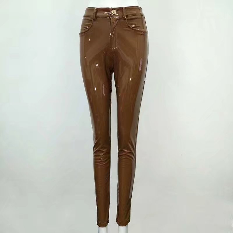 High Quality Celebrity Brown Red Black Leather Stretch Pants Sexy Fashion Boycon Pant