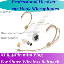 MICWL mini 4Pin Comfortable Wireless Headset Microphone for Shure Headworn Bodypack System